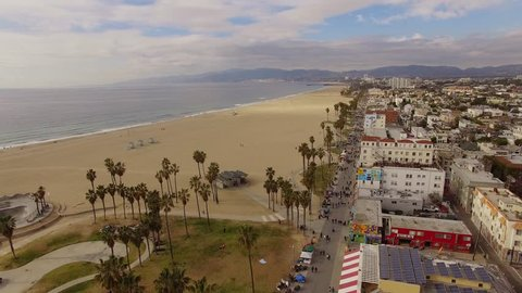 Aerial Venice Beach in Los Angeles