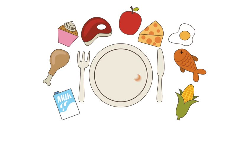 Vegan Eat Well Plate And Healthy Diet Food Icons On A