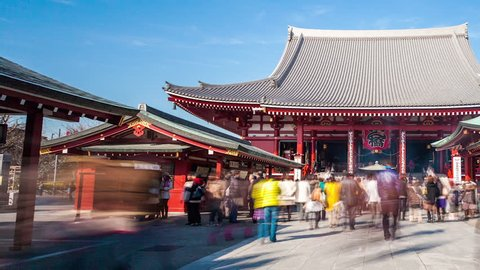TOKYO - FEBRUARY 10: (Dolly right Timelapse view) Low angle view of Senso-ji Temple in Asakusa on February 10, 2012 in Toyko, Japan. Sensoji temple is one of the most famous landmarks in Tokyo.