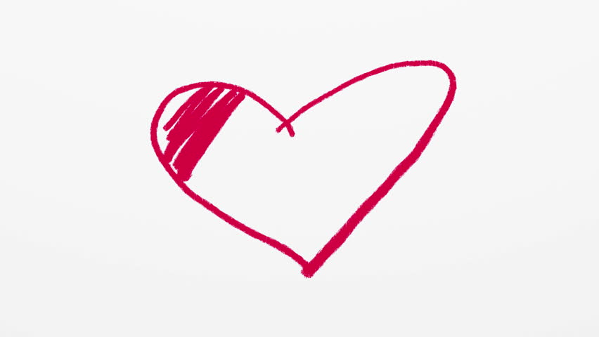 Heart symbol being drawn by red crayon or pastel on white background. Valentines day artistic animated background.