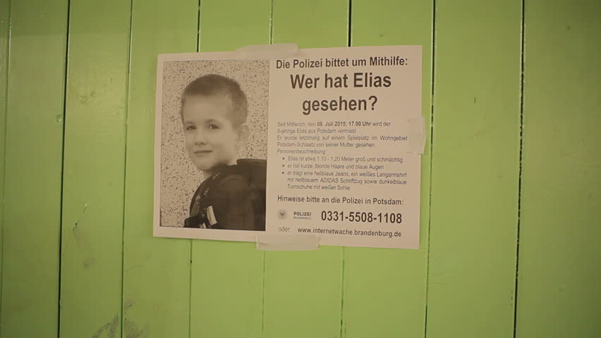 GERMANY - CIRCA JULY 2015 - Police missing child poster in Berlin, Germany