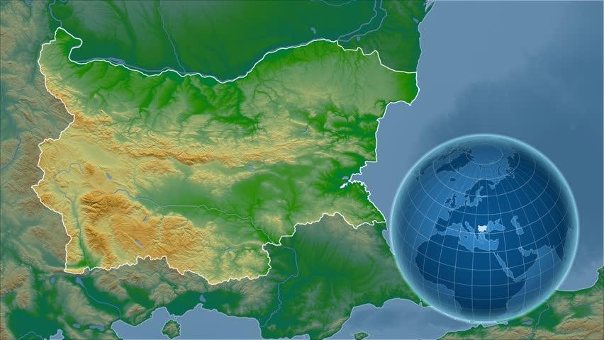Bulgaria Shape Animated On The Satellite Map Of The Globe Stock