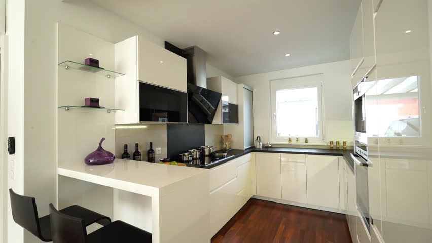 Attrayant Move In White Kitchen Of New House   HD Stock Video Clip