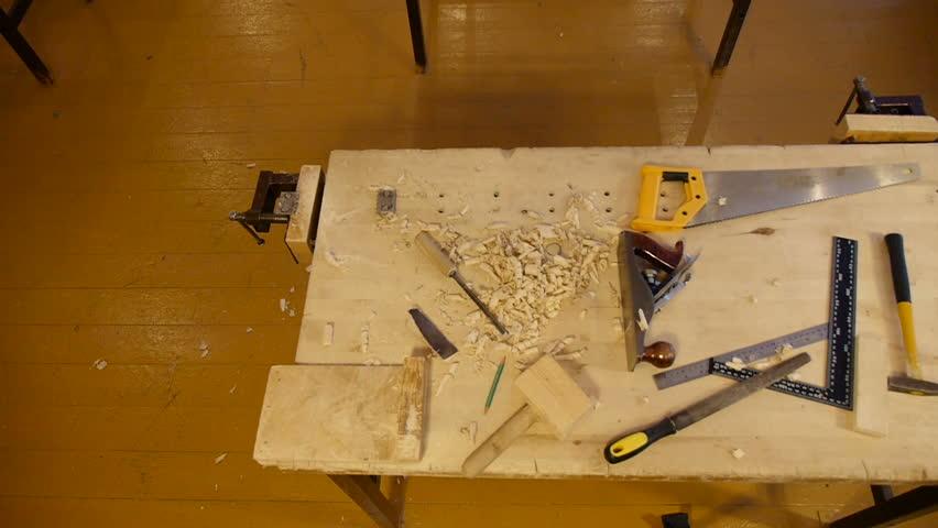 Top view craftsman carpenter table   Shutterstock HD Video #13997408