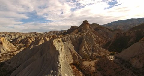 4k Aerial View in the desert, Sierra Alhamila, Spain