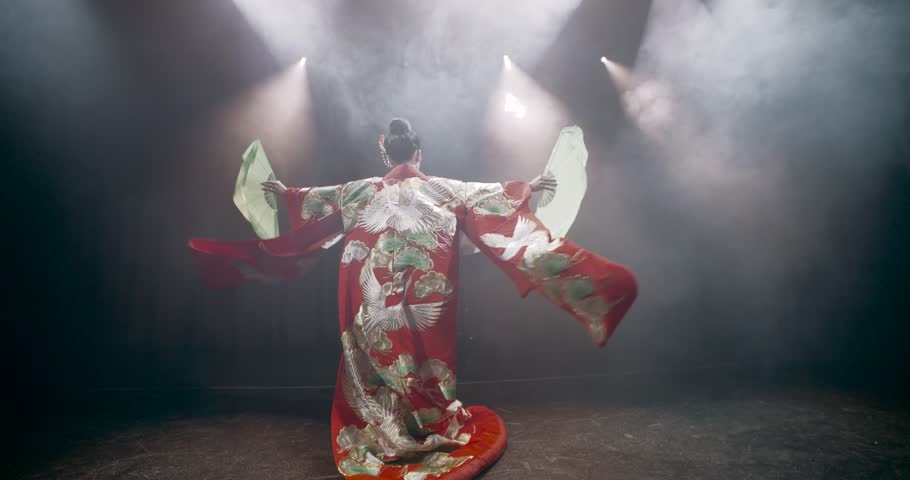 beautiful Japanese geisha posing for the camera with fans on stage, epic slow motion, smoke and dark background #14005328