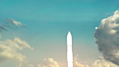 An ICBM missile launching into air