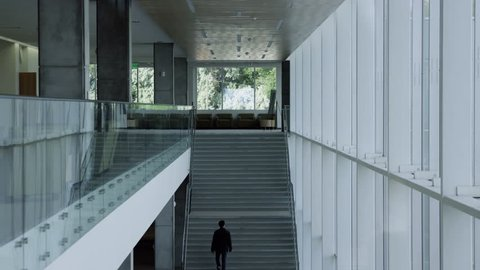 man walks up stairs in interesting building