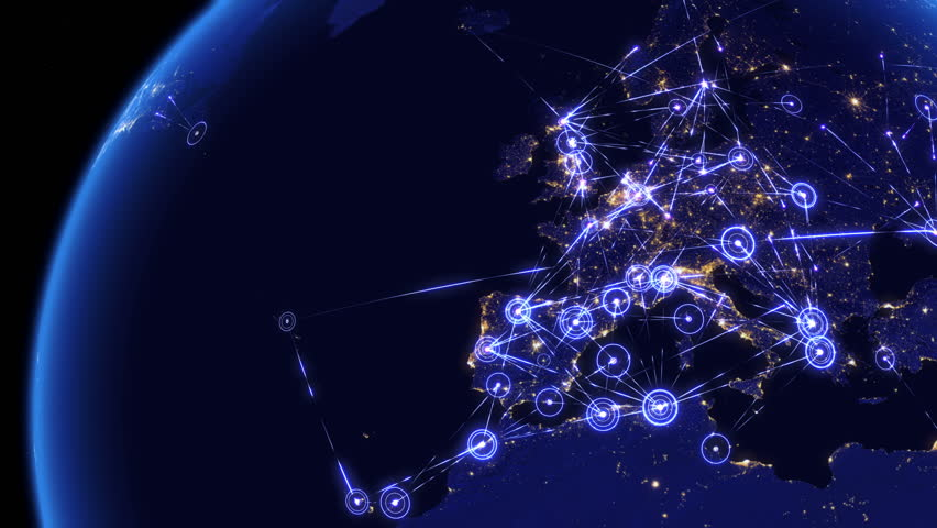 Global communications through the network of connections over Far East, Asia, Europe and America. Concept of internet, social media, traveling. High resolution texture of city lights at night. 4k. | Shutterstock HD Video #14047460