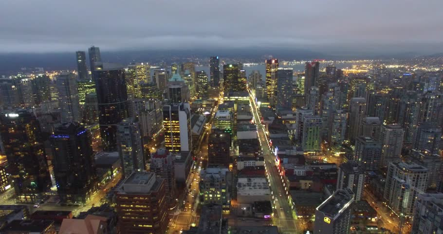 VANCOUVER,CANADA - CIRCA January 2016 :aerial right sweep over downtown at night   Shutterstock HD Video #14052344