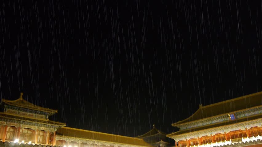 Panoramic of Beijing Forbidden City palace in rain & the Great Wall battlements. gh2_03953