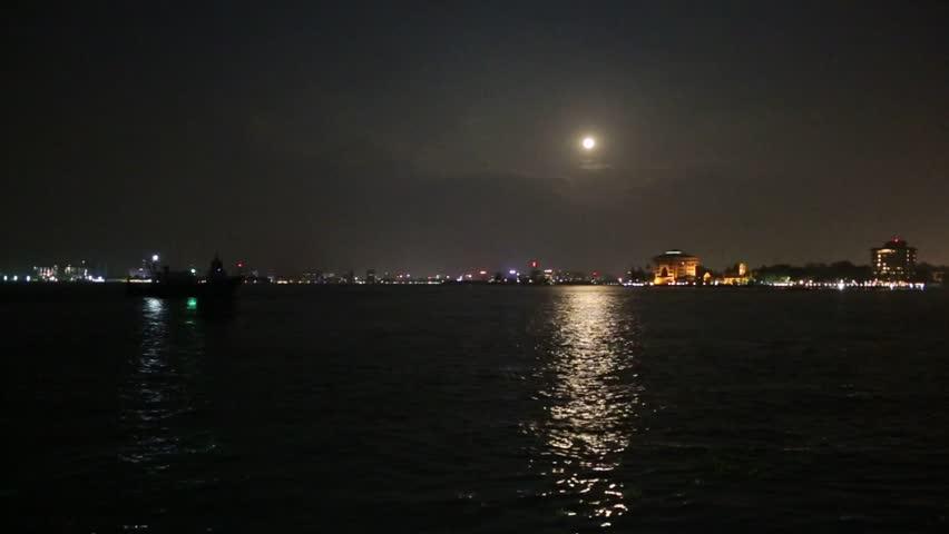 Harbor landscape of Cochin at night,Kerala/India,December 2015,Cochin is Popular tourist destination in India.