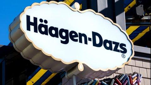 ANAHEIM, CA/USA - OCTOBER 10, 2015: Haagen-Dazs ice cream store exterior. Haagen-Dazs is an ice cream brand with franchises throughout the world.