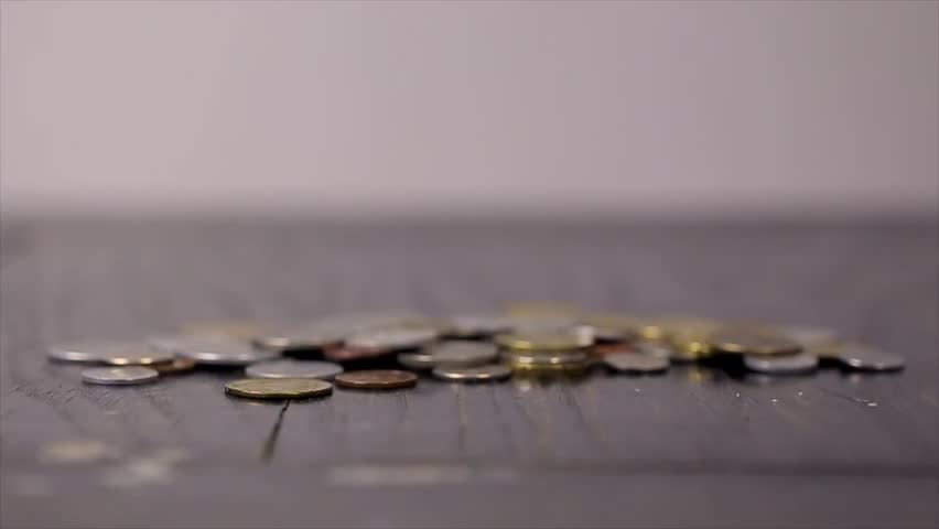 Coins on the Black Table Close-up | Shutterstock HD Video #14091788