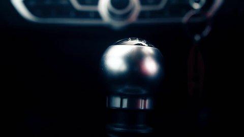 Shifting Gear Stick in Manual Car, Close Up Macro