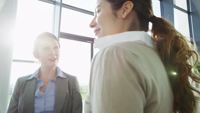 4k / Ultra HD version An attractive young business team are having a conversation in a bright, modern office building. They are bathed in sunlight streaming through the windows. In slow motion.  | Shutterstock HD Video #14126891
