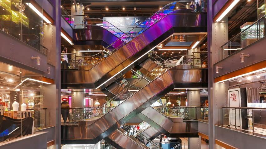 BANGKOK / THAILAND - JAN 27 2016 : Time-Lapse of People using the escalators in Siam Center Shopping Mall Bangkok. | Shutterstock HD Video #14132996