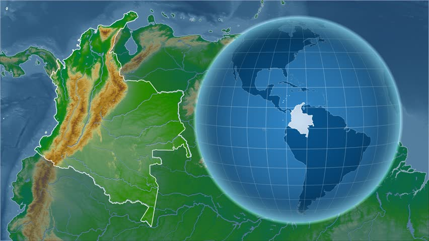 Colombia shape animated on the satellite map of the globe videos de colombia shape animated on the physical map of the globe 4k stock footage clip gumiabroncs Gallery
