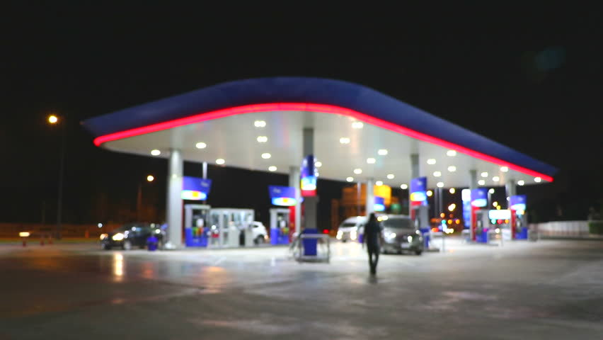 The Lighting Blurred in Gas station at night   | Shutterstock HD Video #14143658