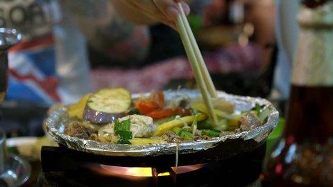 Cooking Vegetables on Barbeque. Vietnam Street Food BBQ.
