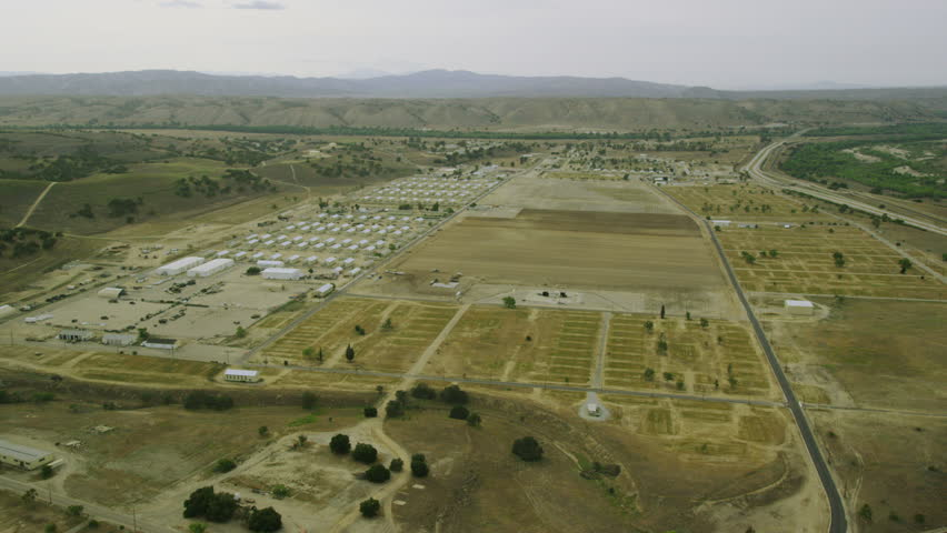 4k / Ultra HD version Aerial view of American Military Base. Barracks on desert base. Shot on RED Epic