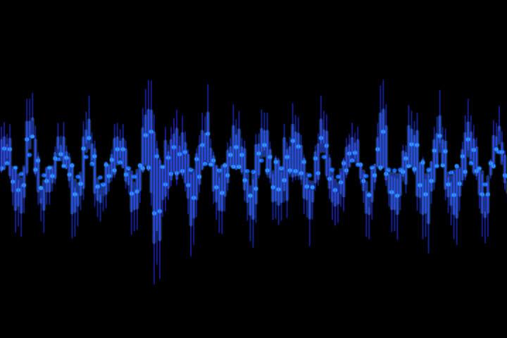 Blue audio waveform motion graphic