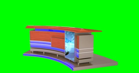 4K isolated news desk for virtual sets. This news desk is in 4k resolution so you can zoom and position the desk as needed in your scene! Loops at 22:15 or use your own graphic in the screen!
