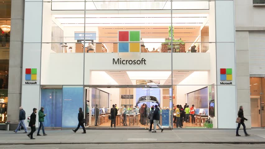 New York, New York, USA - January 27, 2016: People walk by the Microsoft Store on Fifth Avenue in Midtown Manhattan.