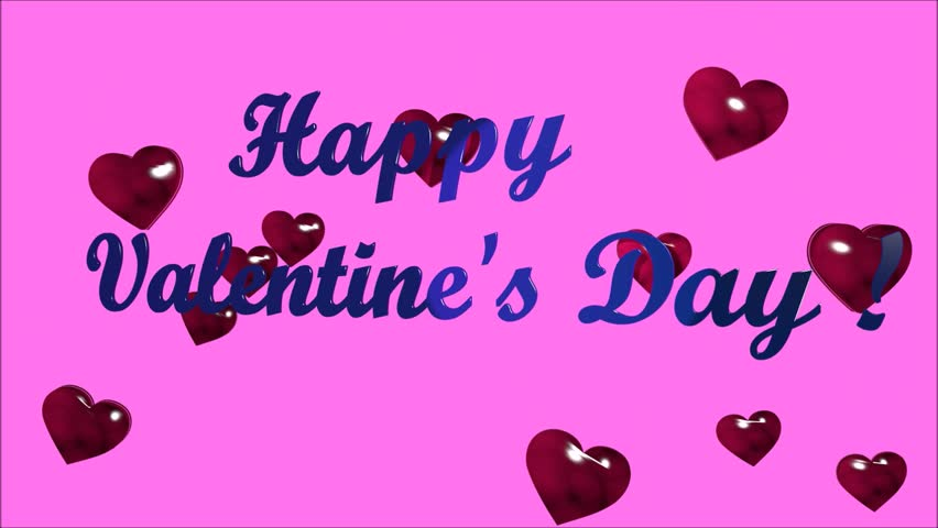 animation with text happy valentines day and hearts on a pink background hd - Happy Valentines Day Animation