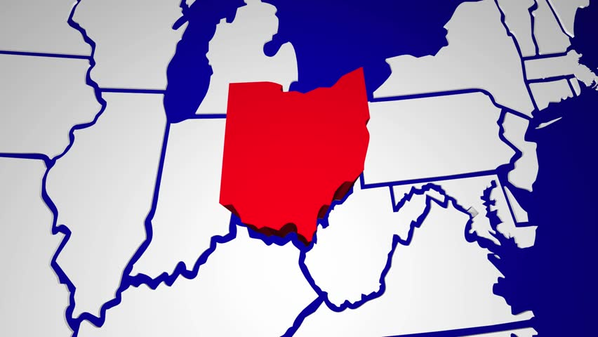 Ohio Oh Animated State Map Usa Zoom Close Up Hd Stock Video Clip