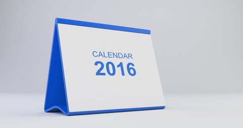 A monthly 2016 calendar sitting on a white background. The calendar is blue in colour. Pages start to flip from left bottom corner and fly away after tearing. High quality render in 4K resolution.