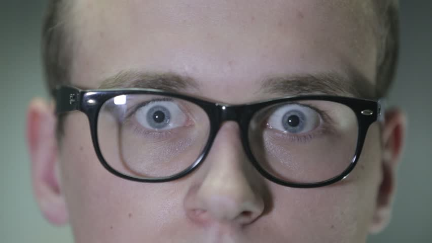 Surprised guy in glasses