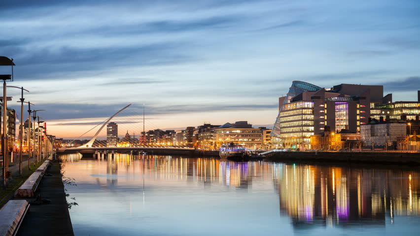 4K, 4096, 2304, time laps video of the City centre and river Liffey with Samuel Beckett Bridge during sunset. Dublin, Ireland | Shutterstock HD Video #14232920