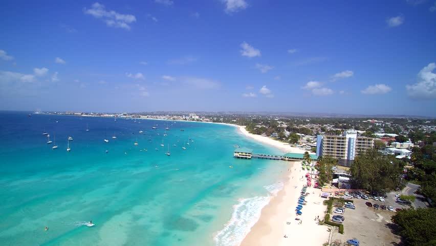 Aerial Island sky view of tropical Beach coastline of Barbados in the Caribbean