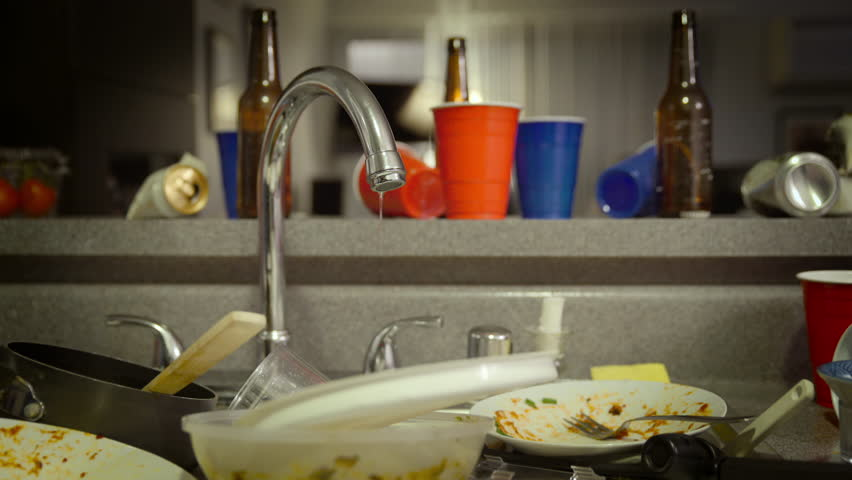 Dirty Kitchen Sink After Party Stock Footage Video (100% Royalty ...