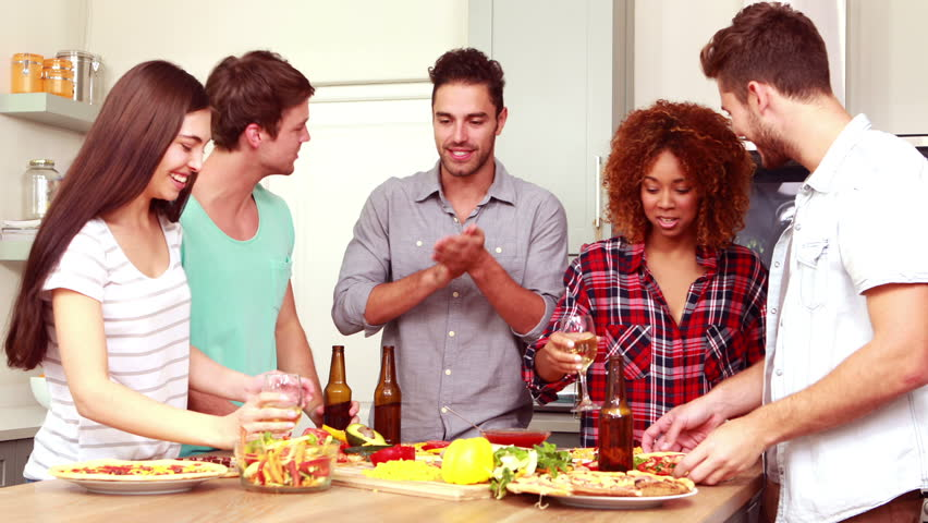 Dinner Party Video Part - 34: Friends Making Pizza And Drinking Beer And Wine In The Kitchen - HD Stock  Video Clip