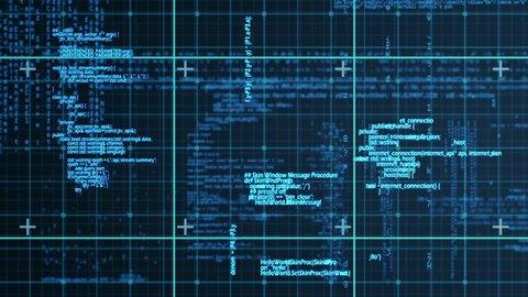 Digital animation of blue matrix