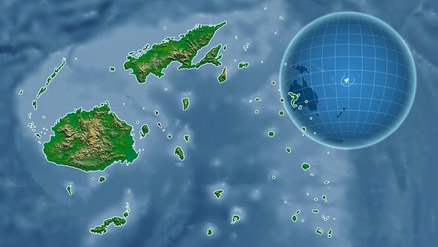 Fiji Shape Animated On The Admin Map Of The Globe Stock Footage