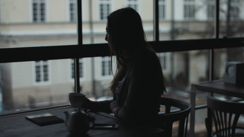 Sweet couple silhouette sitting at the cafe opposite to huge windows, chatting and holding each other hands.  | Shutterstock HD Video #14369218