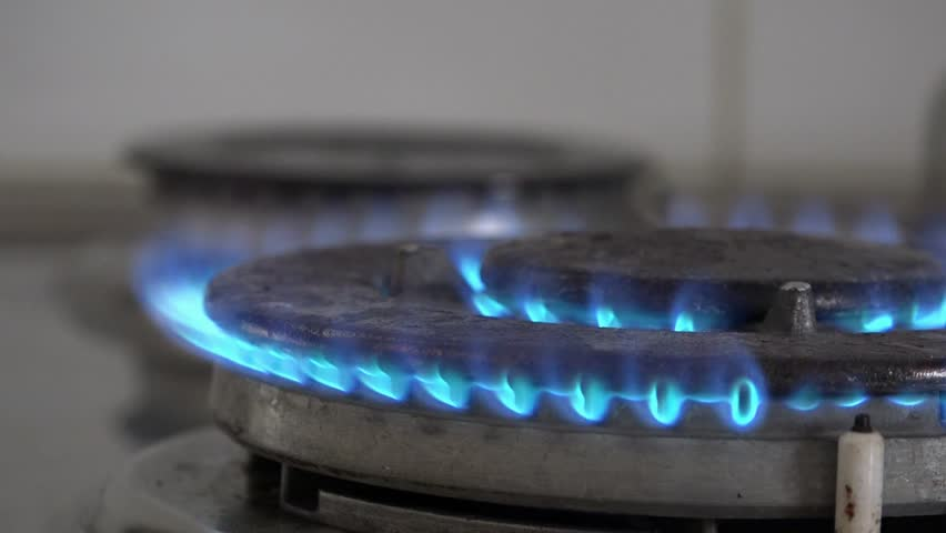 Close Up Of Natural Gas Stove Flames Burning Stock Footage Video