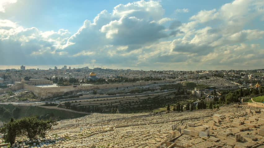 Time lapse of the walled old city of Jerusalem, Israel, showing the south steps ruin, the Temple Mount with the Dome Of The Rock, Western Wall (Wailing Wall)