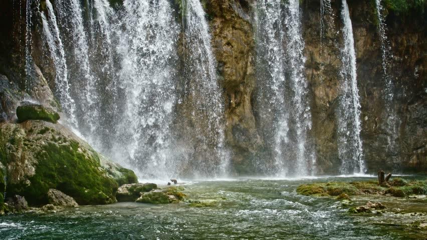 Lakes with waterfall in Croatia, Europe. Location: Plitvice, National Park Plitvicka jezera. 4K #14425258