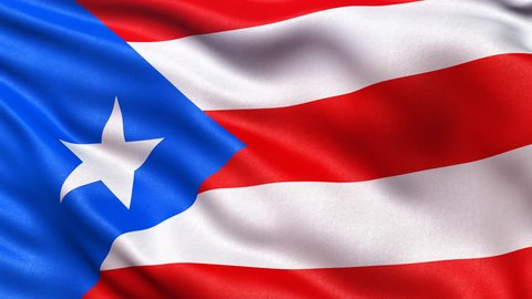 Realistic flag of Puerto Rico waving in the wind. Seamless loop with highly detailed fabric texture. Loop ready in 4K resolution.