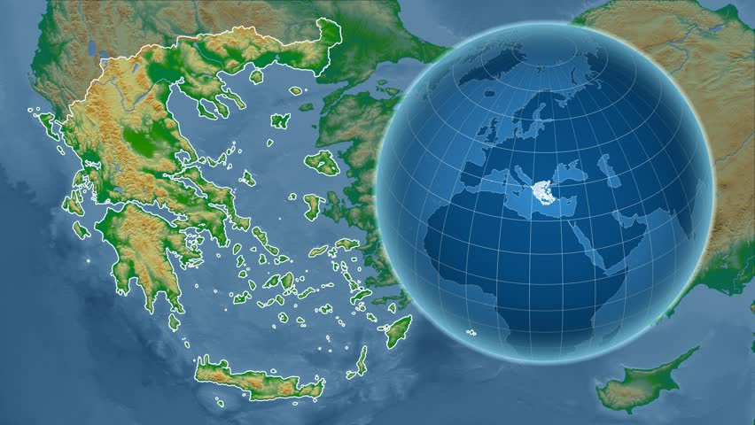 Greece Shape Animated On The Physical Map Of The Globe Stock - Portugal globe map