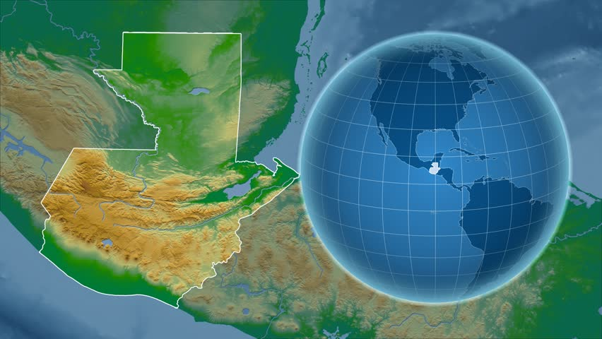 Guatemala Shape Animated On The Relief Map Of The Globe Stock