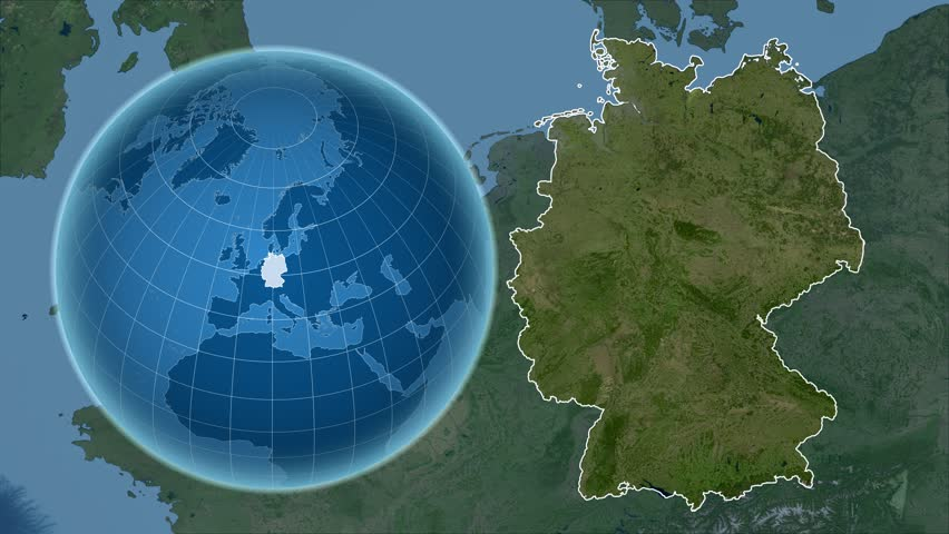 Stock Video Clip of Germany shape animated on the satellite map