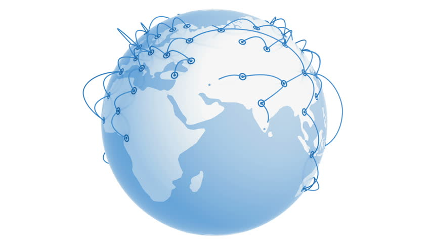 Global Network Growing on the Earth. Business concept 3d animation. White background. HD 1080.