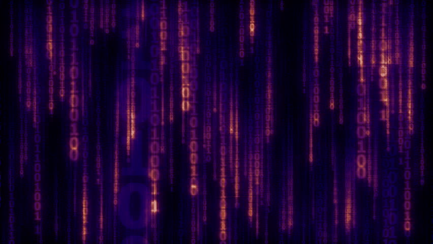 Cyberspace with digital falling blue - purple lines, binary hanging chain, abstract animated background - seamless loop | Shutterstock HD Video #14474308
