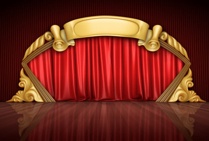 Opening blue theatre velvet curtains. The Alpha Channel is included.