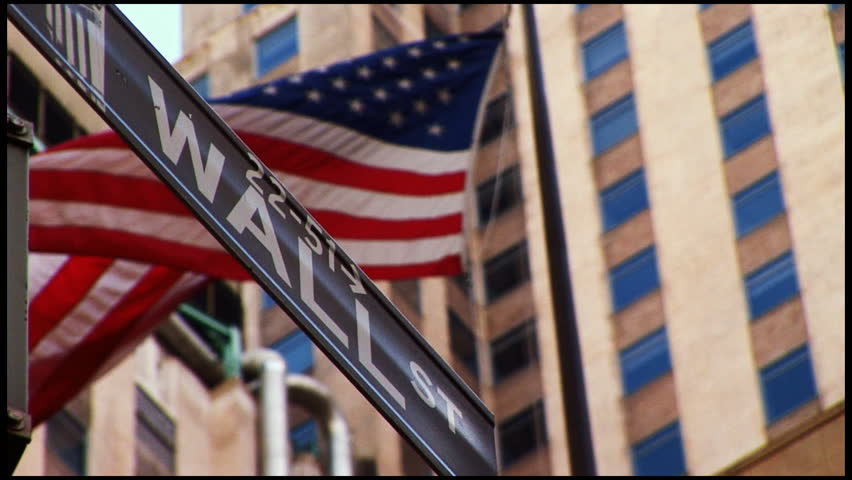 Wall Street and American Flag flowing | Shutterstock HD Video #145462